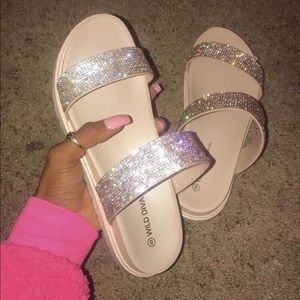 Wild Diva Shoes - wild diva rhinestone sandals